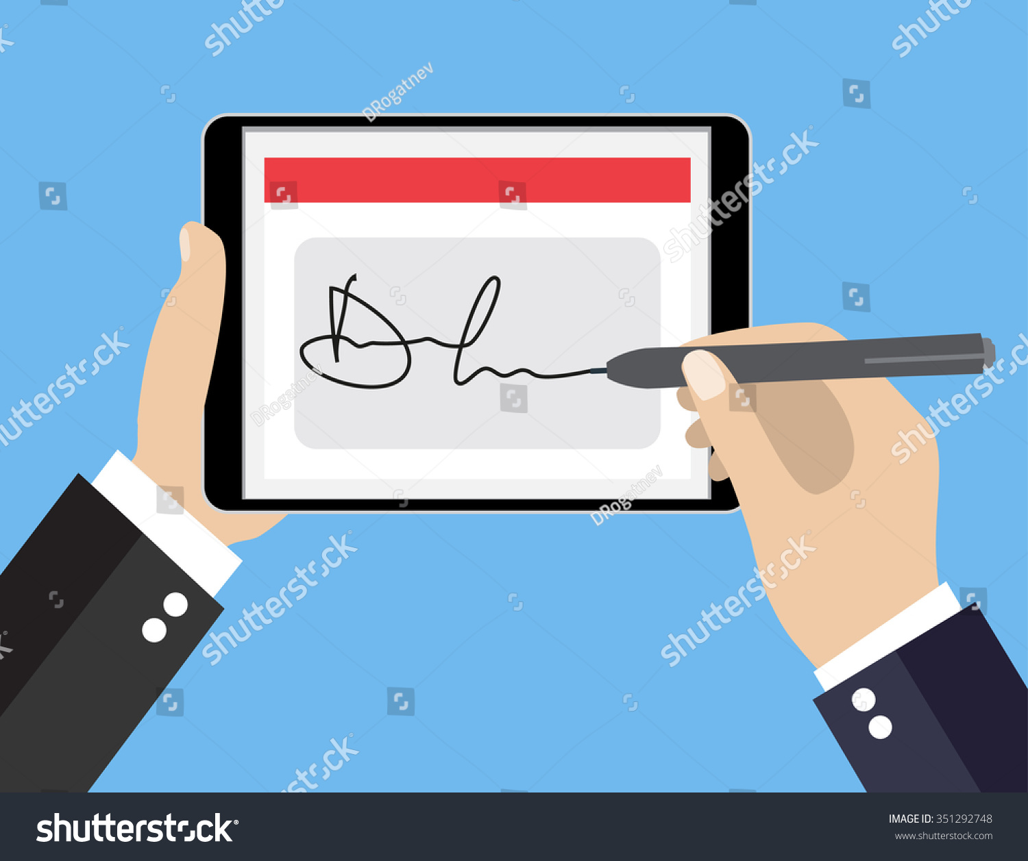 Businessman Hands Signing Digital Signature On Tablet