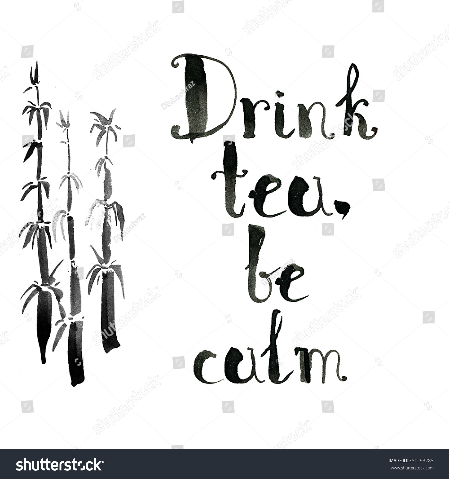 Drink tea be calm ink hand stock illustration