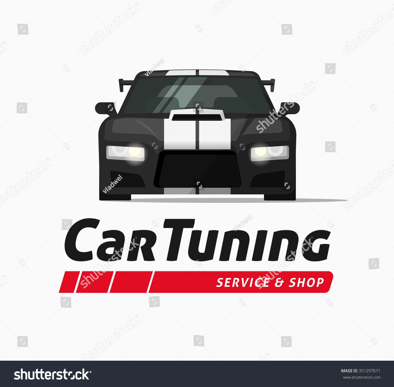 car tuning shop poster vector banner sticker symbol sport auto service centre badge. Black Bedroom Furniture Sets. Home Design Ideas