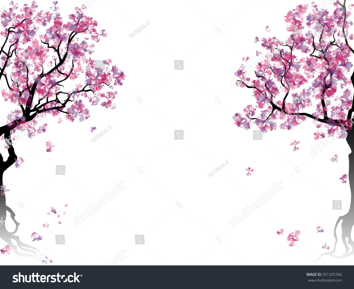 colorful abstract blooming trees template place stock illustration