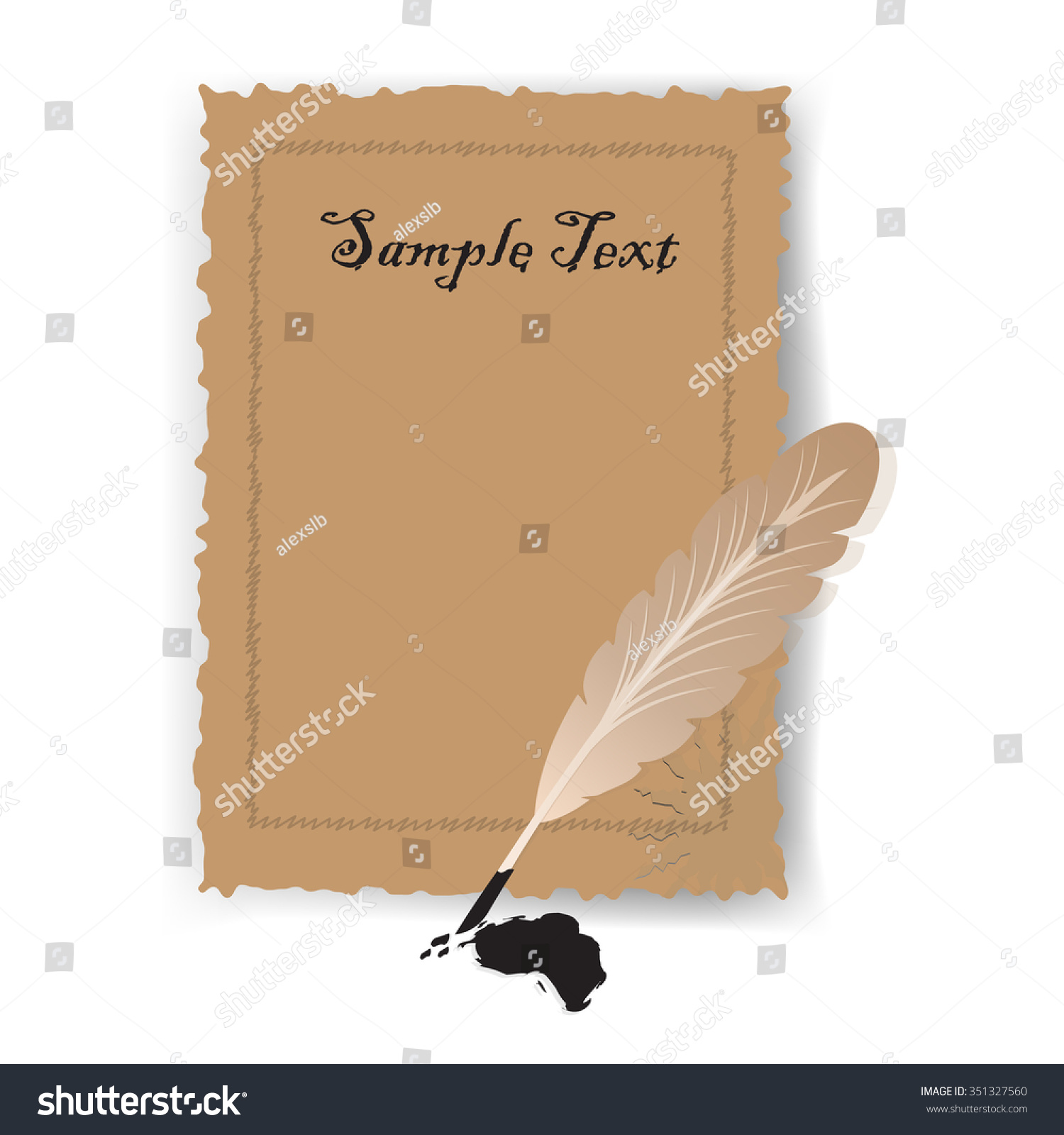 old blank scroll paper feather pen stock vector 351327560, Powerpoint templates