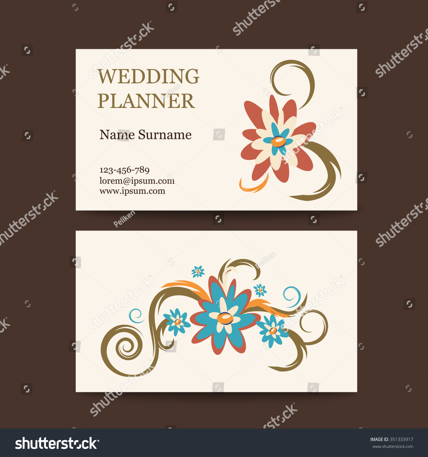 Template Vector Vintage Business Cards Floral Stock Vector ...