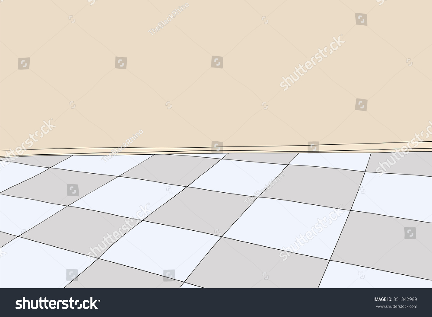 Cartoon Background Of Room With Blank Wall And Checkered Floor Stock Vector