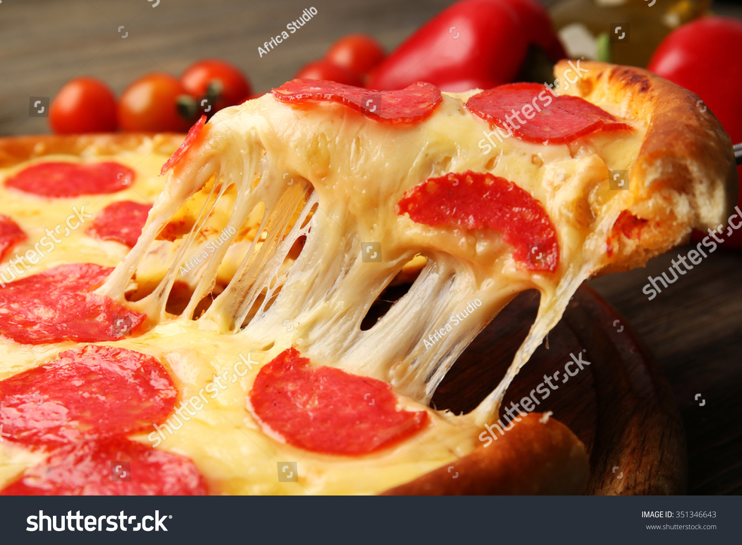 Hot Tasty Pizza Salami Close Stock Photo 351346643