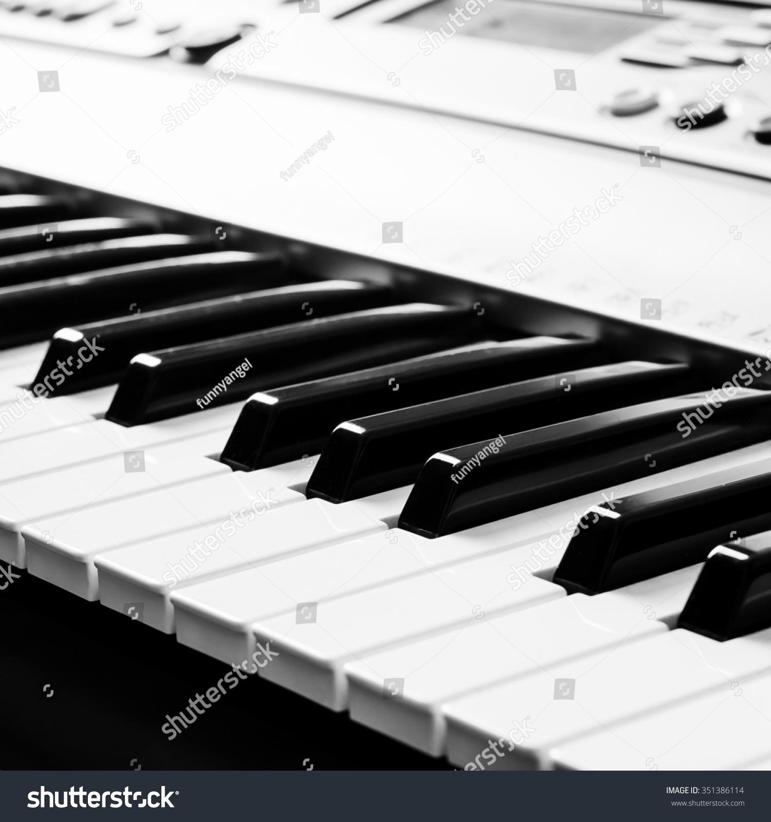 Piano keyboard music instrument black white stock photo 351386114 piano keyboard music instrument black and white key play sound chord hexwebz Images