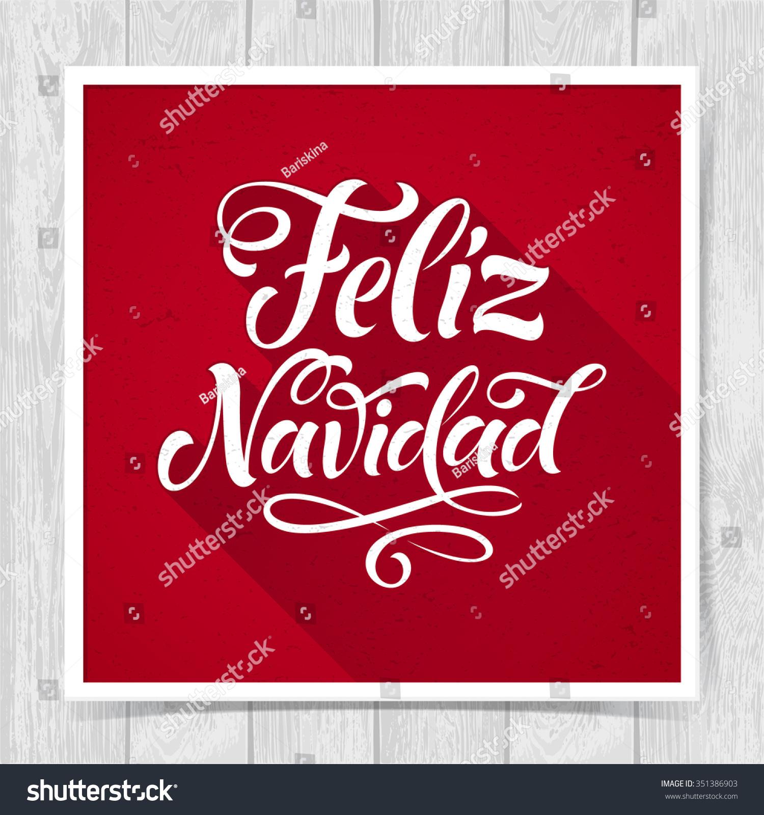 Merry Christmas Text Spanish Feliz Navidad Stock Vector Royalty