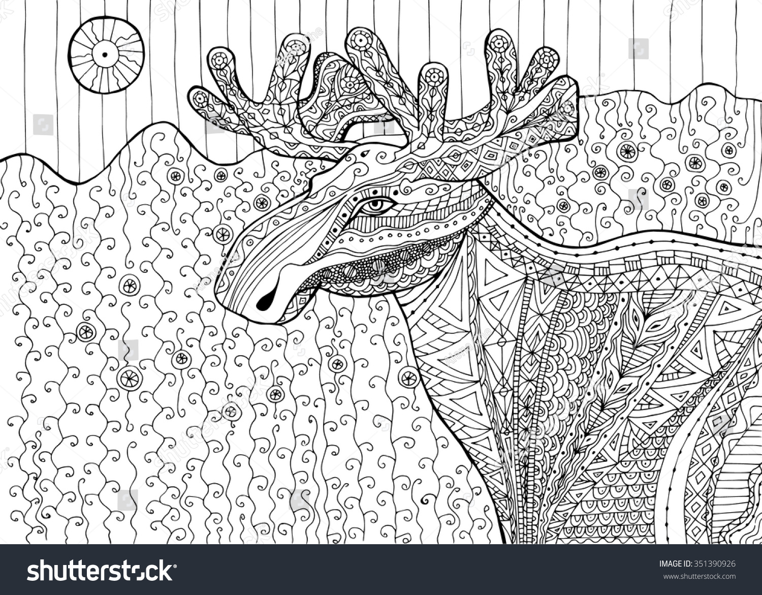 black white drawing elk pattern coloring stock vector 351390926