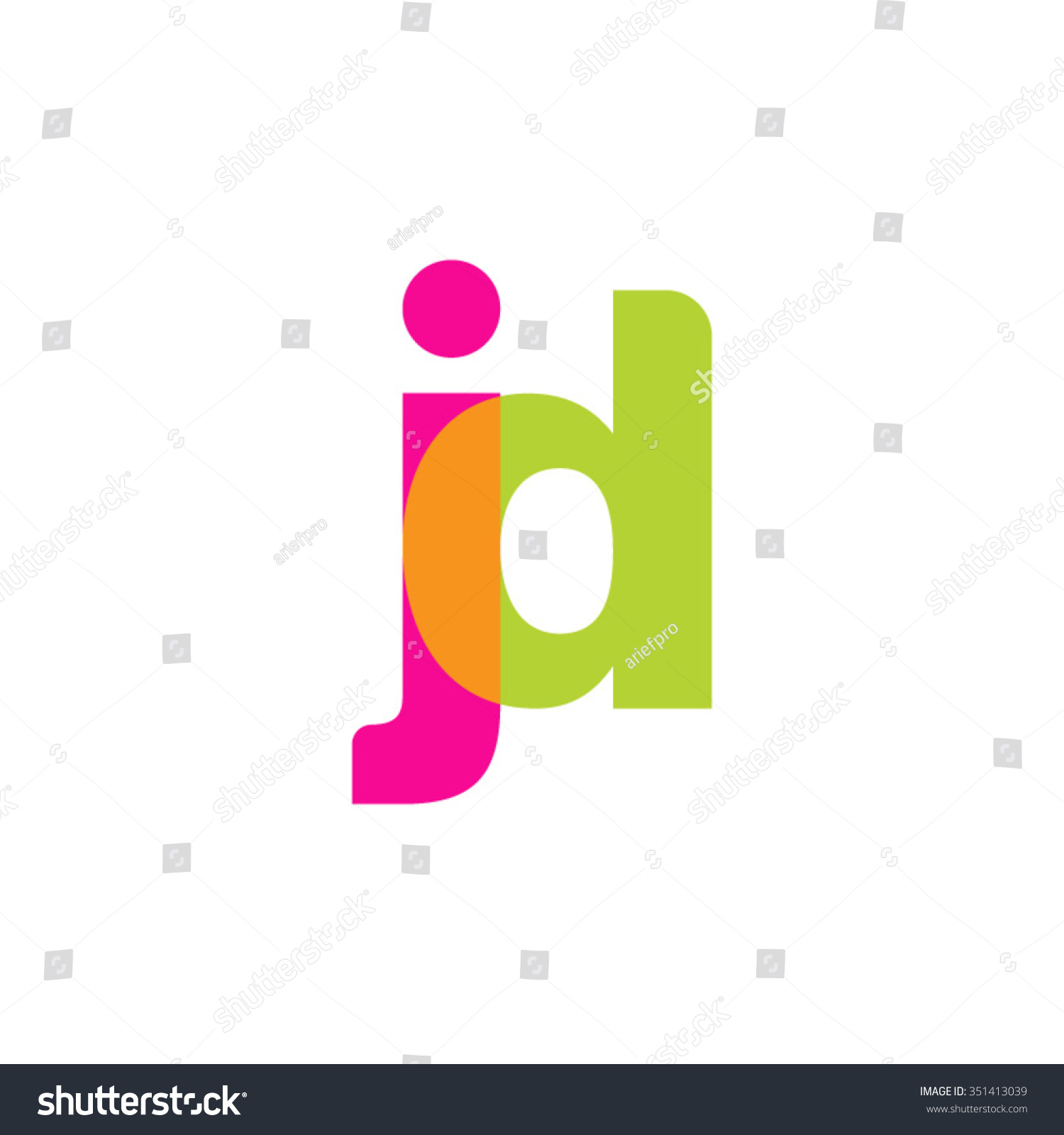 lowercase jd logo pink green overlap stock vector royalty free 351413039 shutterstock