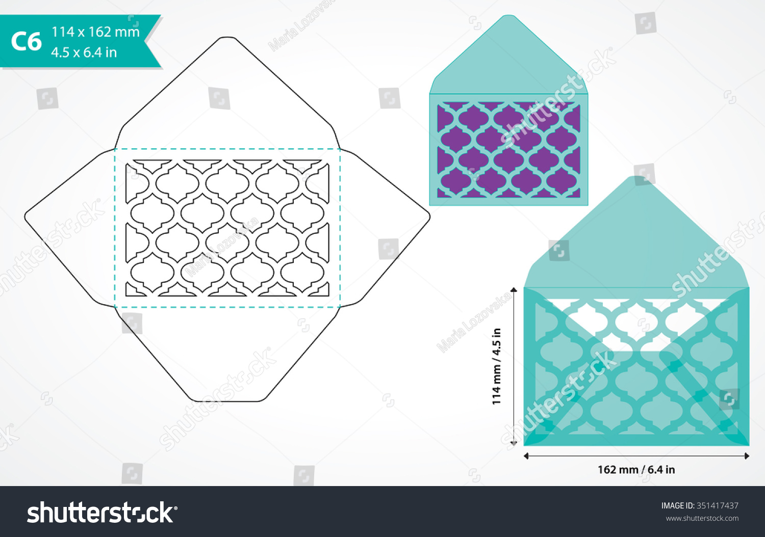 Die Cut Envelope Template Vector Standard Stock Vector 351417437 ...
