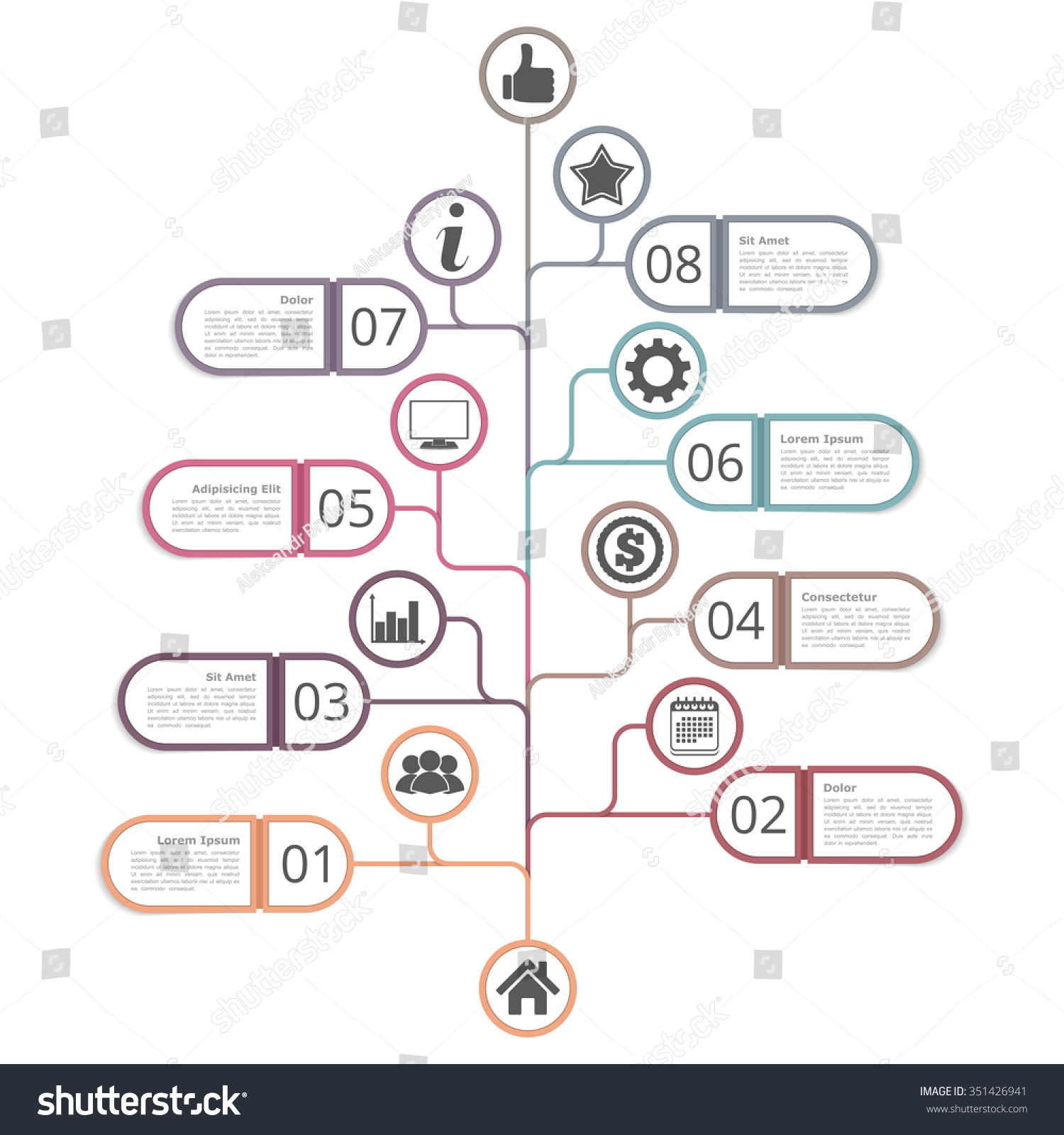 Tree Diagram Template With Numbers, Icons And Place For Your Text, Vector  Eps10 Illustration