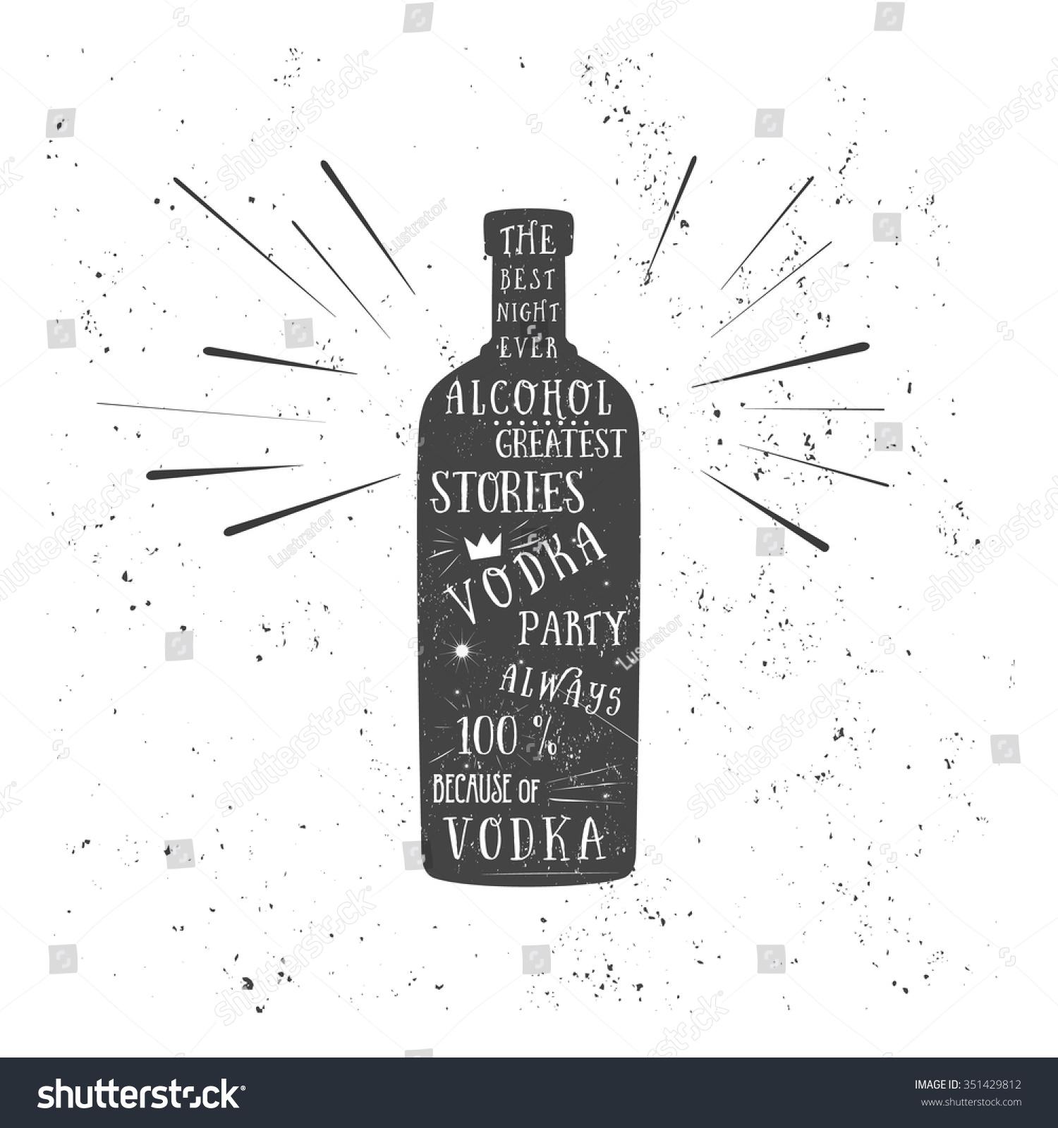 Texture Vodka Bottle Vector Text Pub Stock Vector Royalty Free