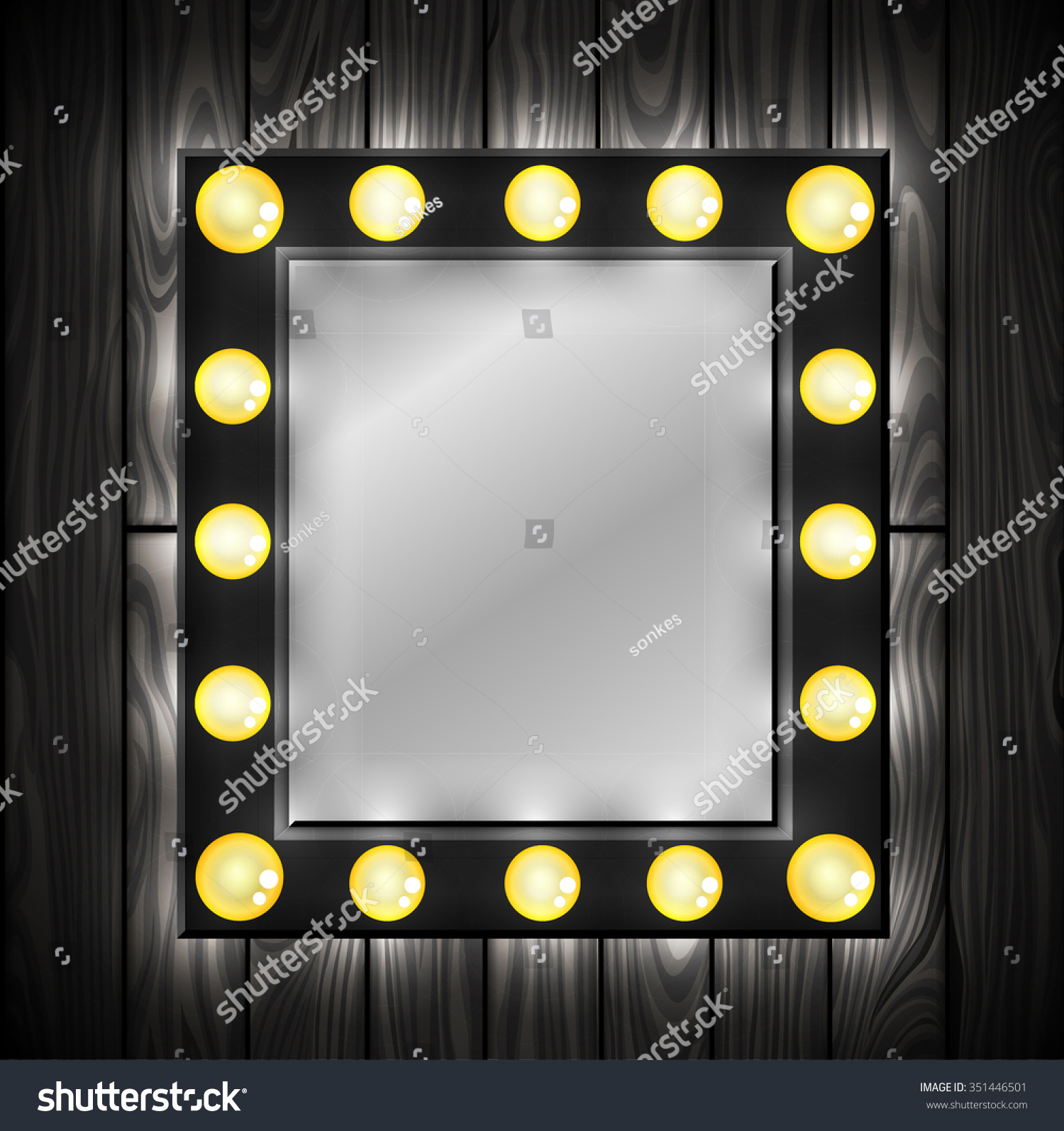 Black Mirror Light Bulbs Dressing Room Stock Vector 351446501 ...:Black mirror. Light bulbs. Dressing room. Wooden background. Vector,Lighting