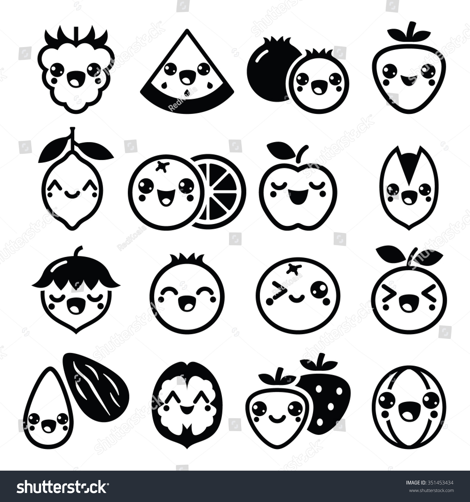 Kawaii Fruit And Nuts Cute Characters Design Stock Vector