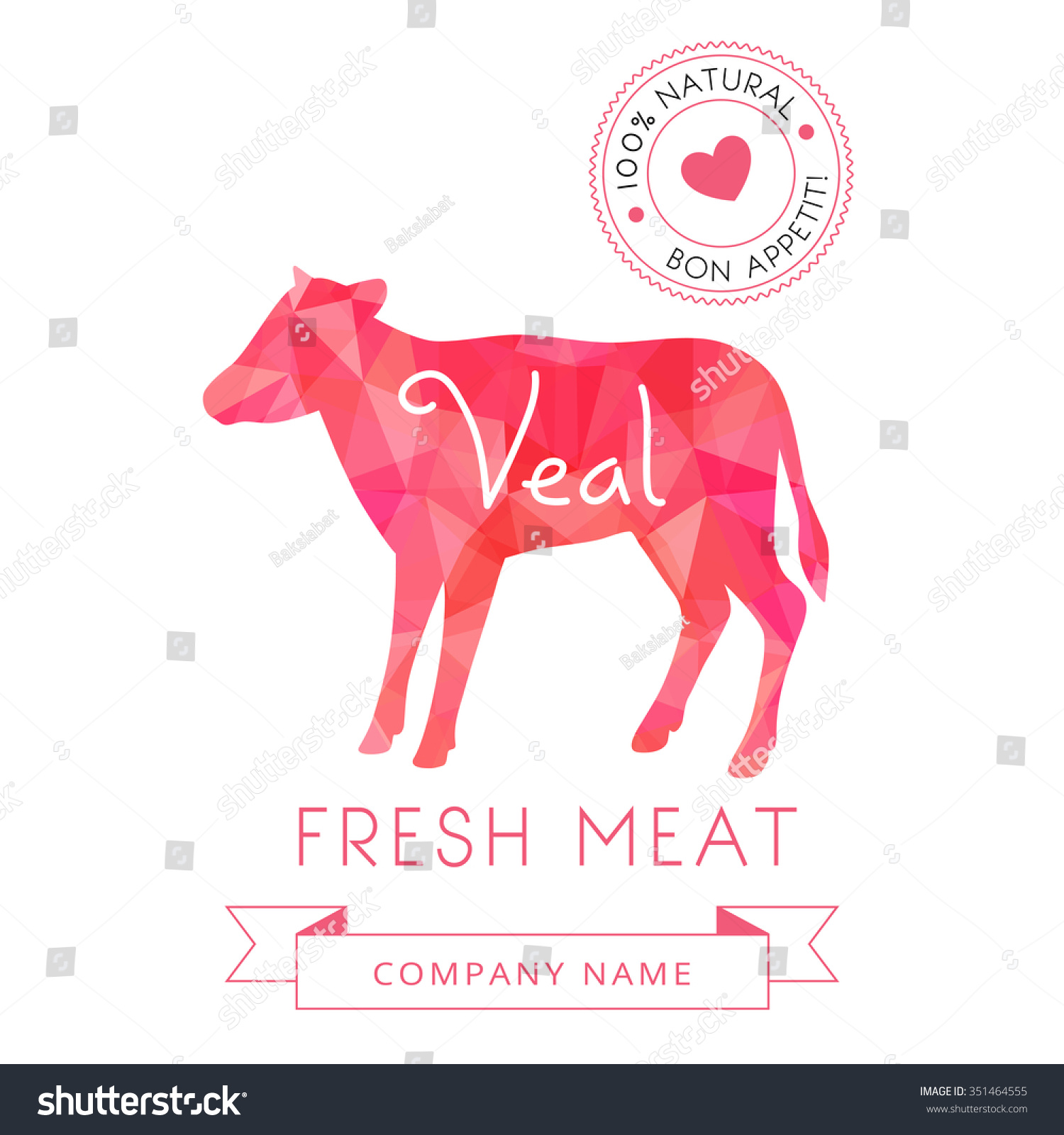 image meat symbol veal silhouettes animal stock vector
