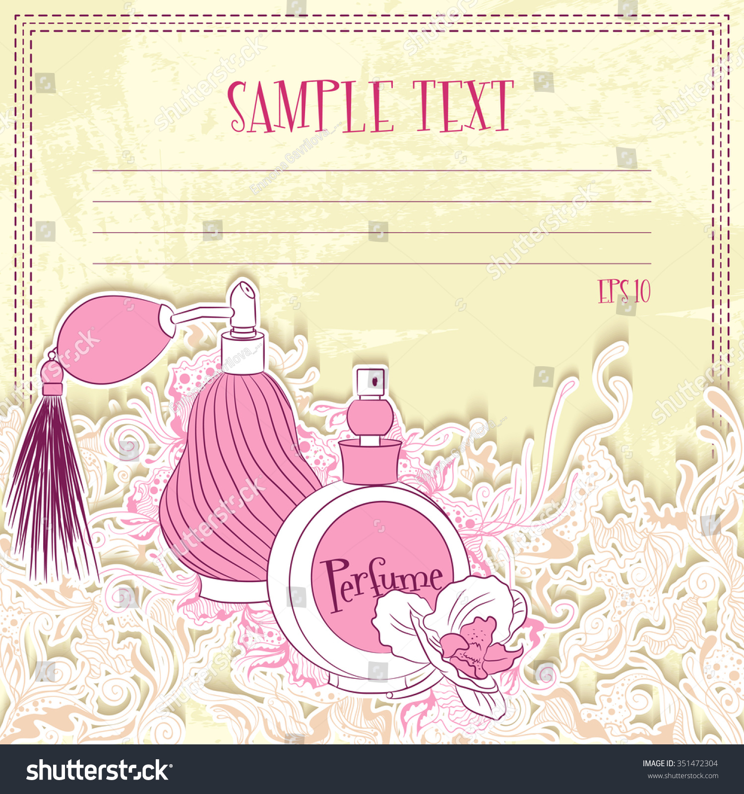 Vector illustration of message card with perfume design for notebook diary sticker