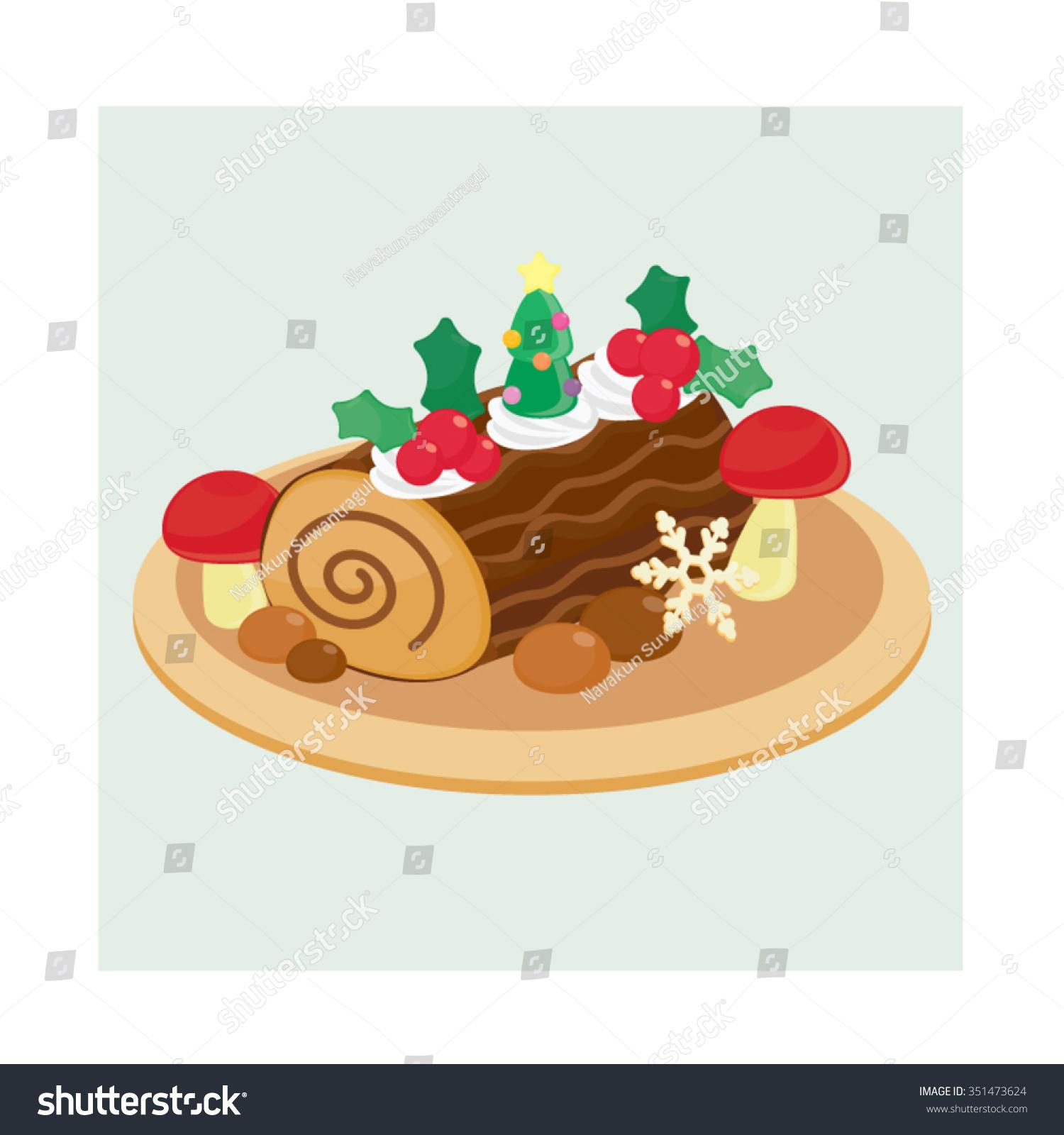 Christmas Yule Log Stock Vector (Royalty Free) 351473624 - Shutterstock