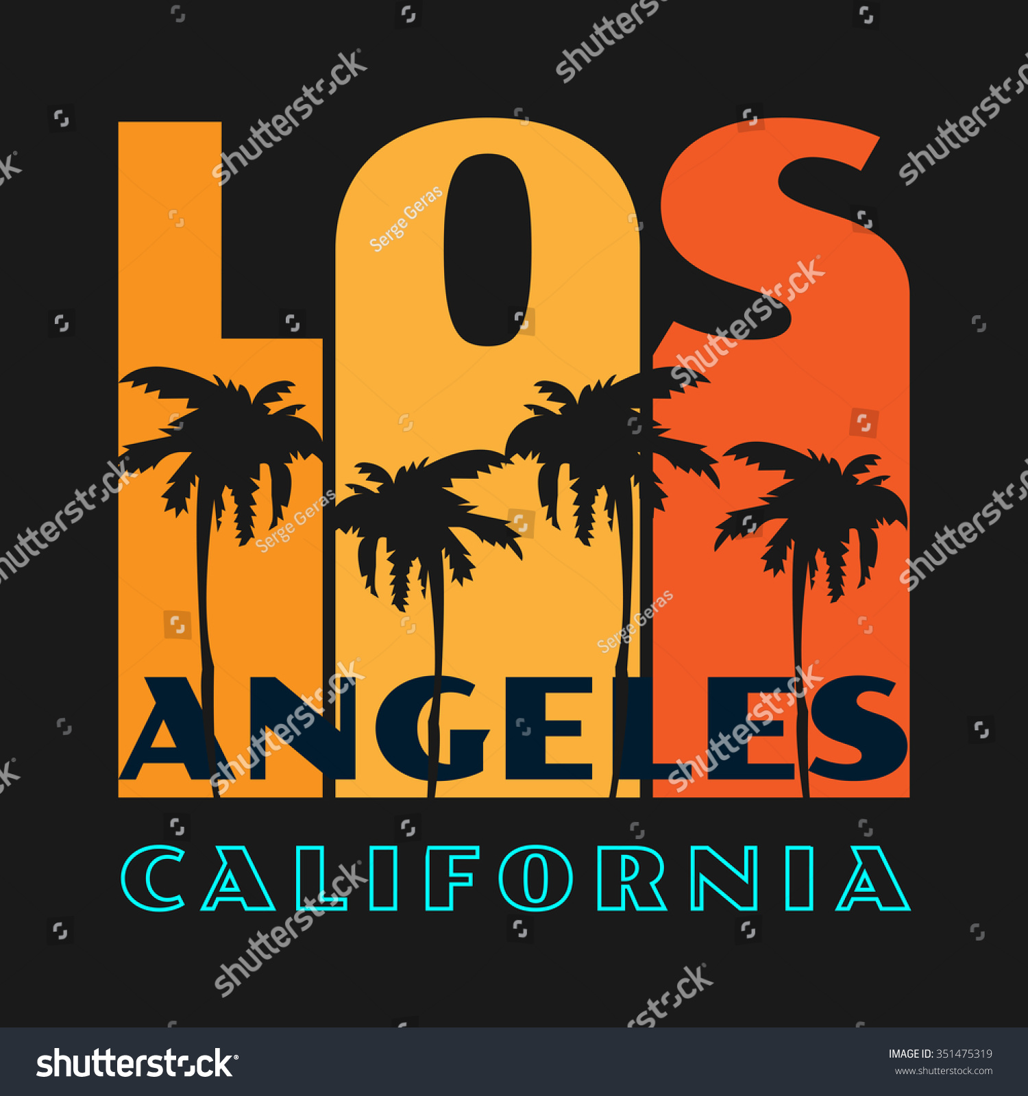 Vector illustration on theme los angeles stock vector for T shirt printing downtown los angeles