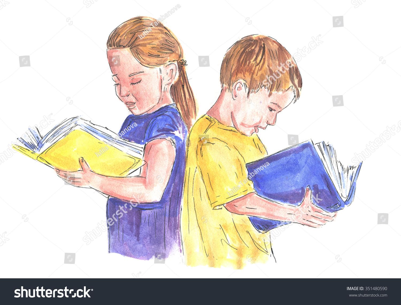 Watercolor books for kids - Watercolor The Children Read Books