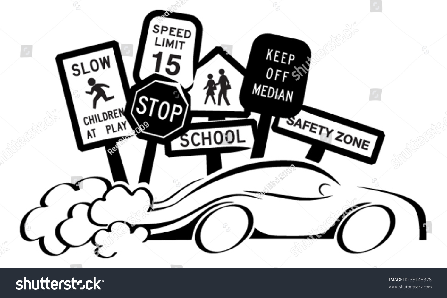 Speeding Car Stock Vector Illustration 35148376 Shutterstock