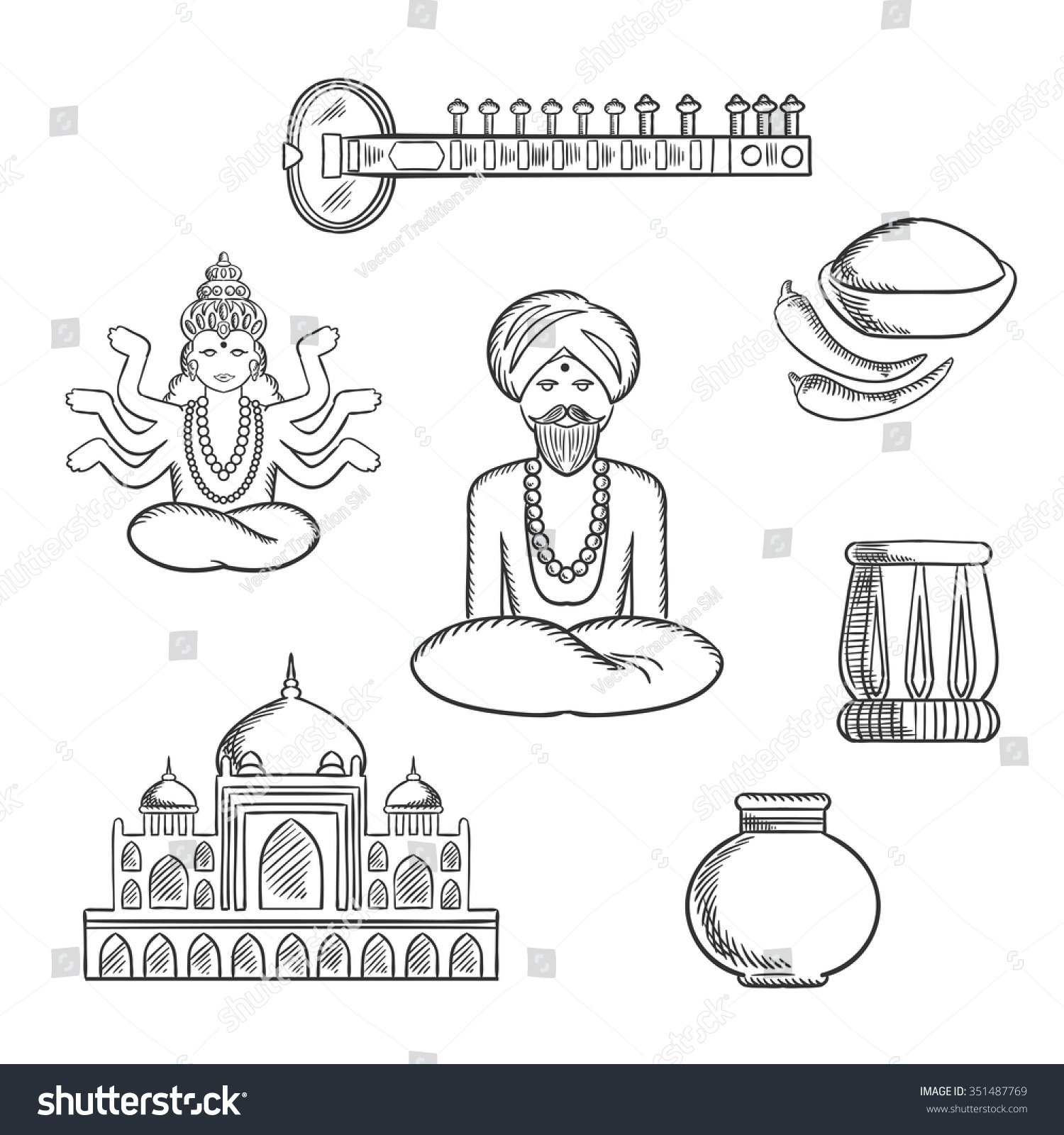 Indian Culture Religion Sketch Icons Stock Vector Royalty Free