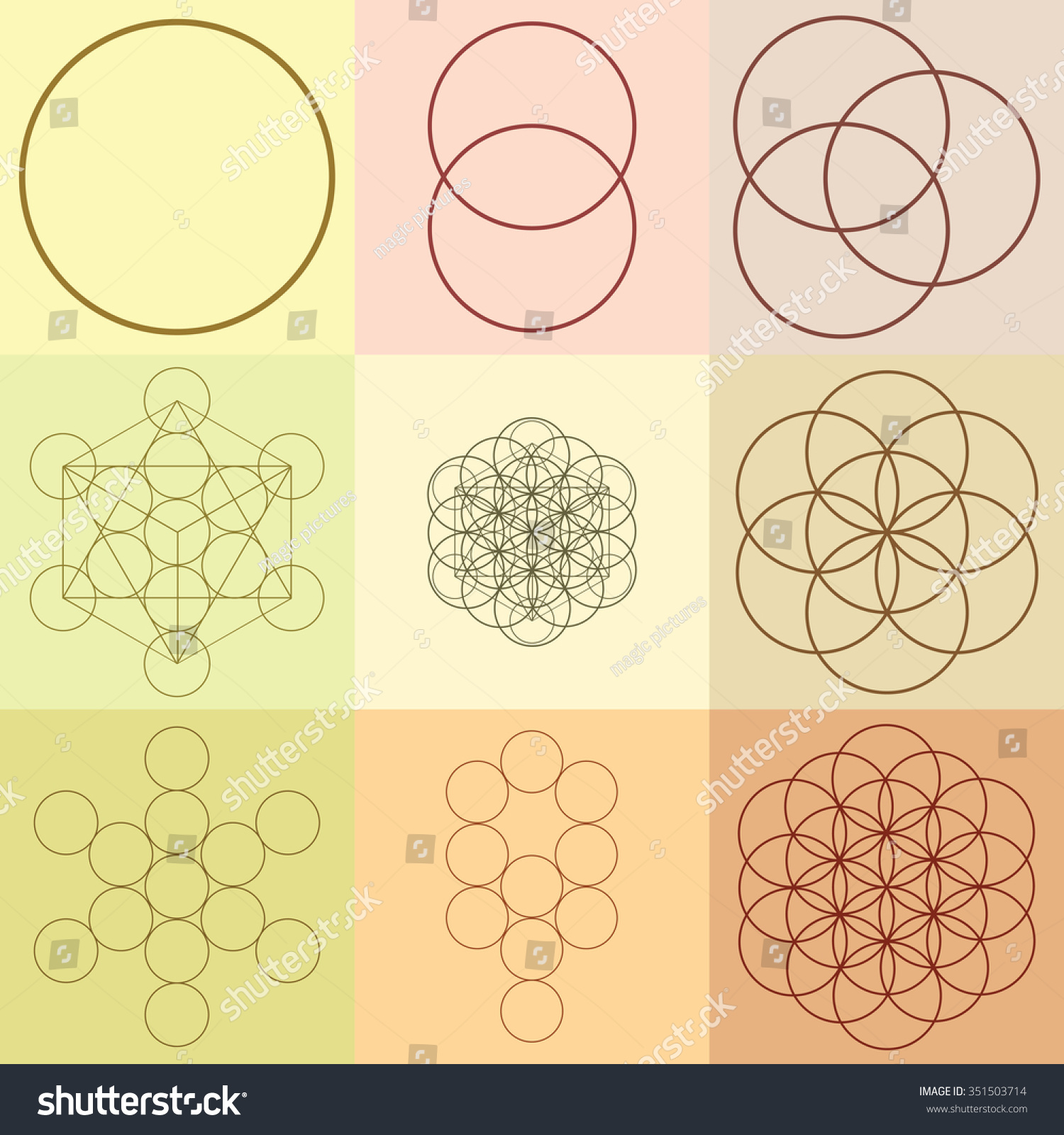 Vector Illustration Flower Life Sacred Geometry Stock Vector