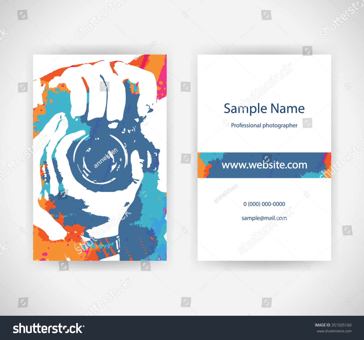 Vector Business Card Photographer On Background Stock Vector Royalty Free 351505160
