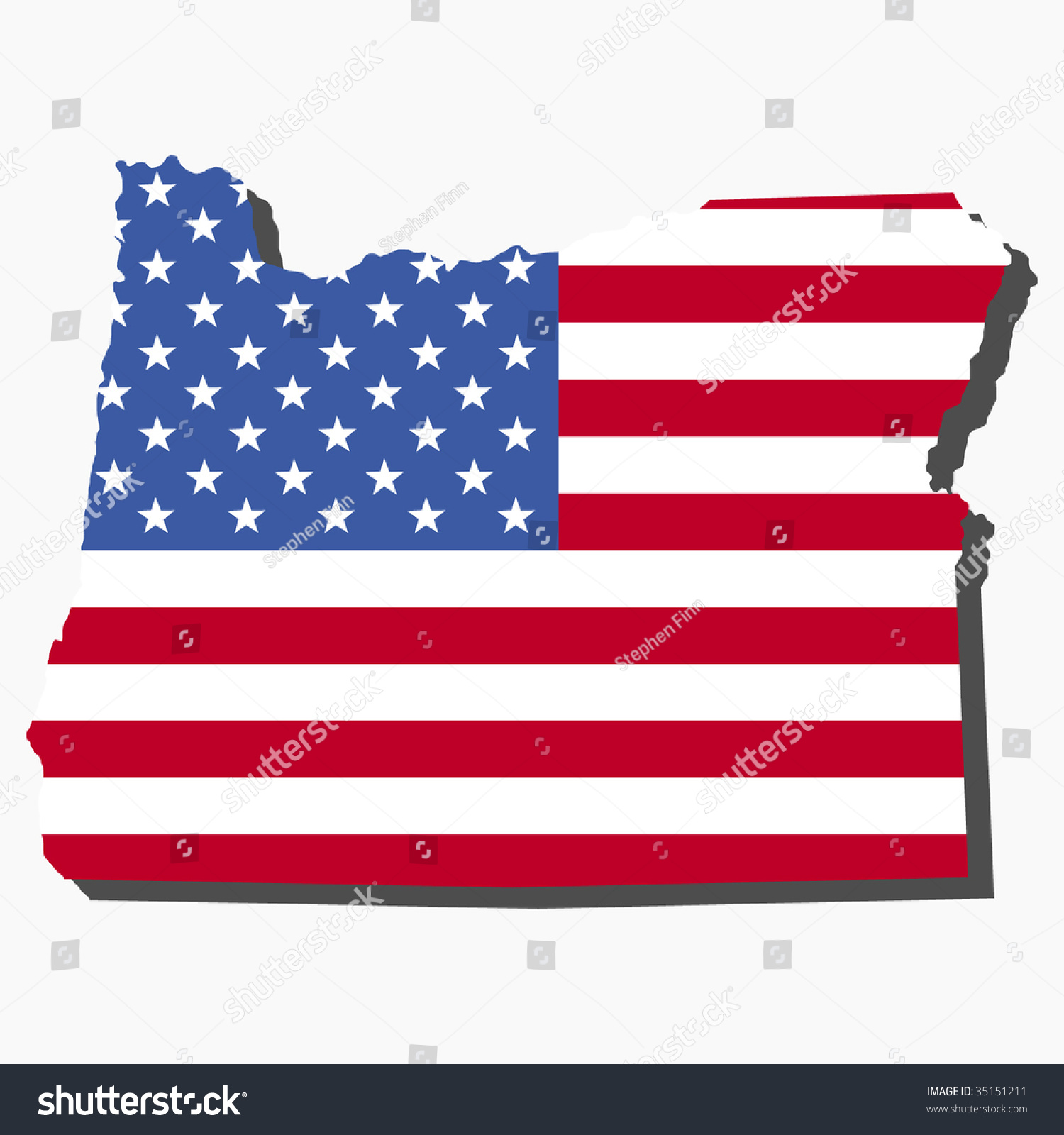 Map State Oregon American Flag Illustration Stock Vector - Map of oregon state usa