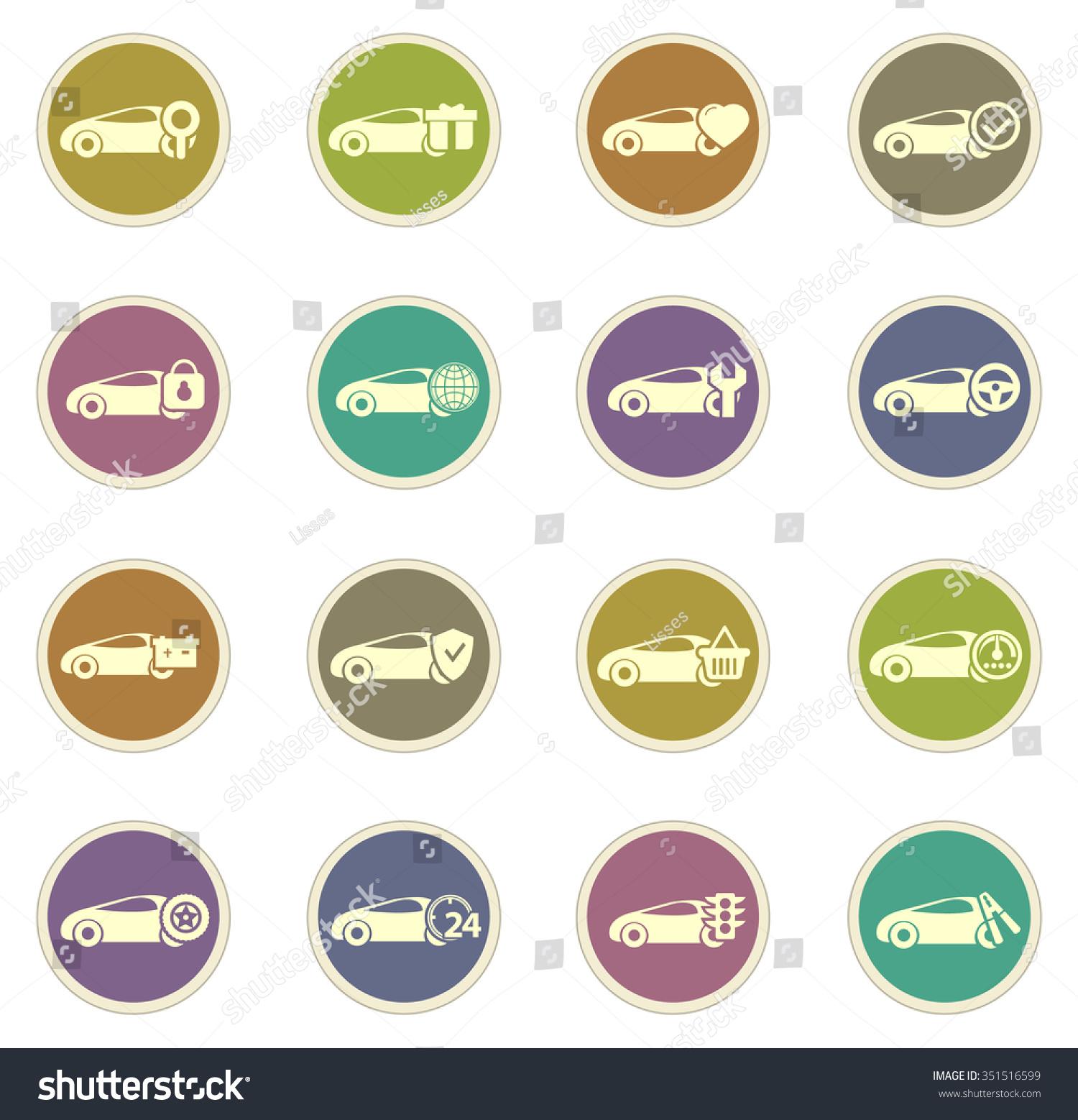 Car Service Stickers Label Icon Set Stock Vector 351516599