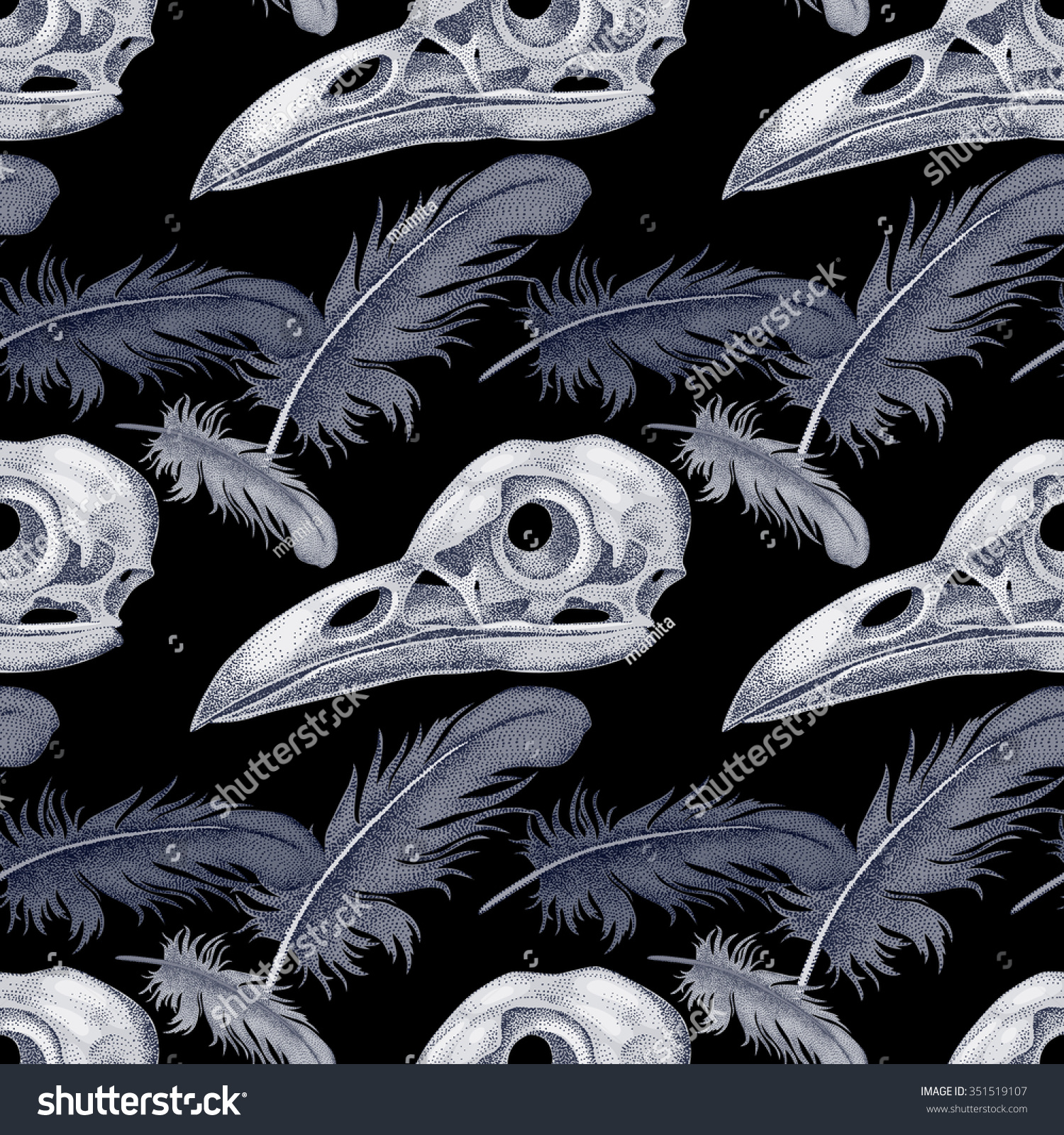 Vector seamless pattern skulls raven feathers stock vector vector seamless pattern with skulls and raven feathers black and white buycottarizona Gallery