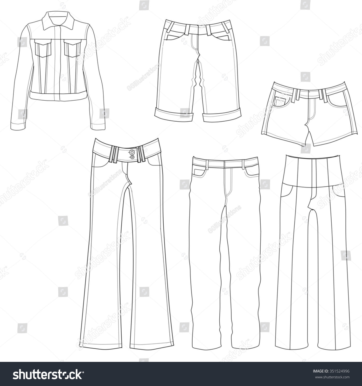 flat template sketches different denim jeansのイラスト素材 351524996