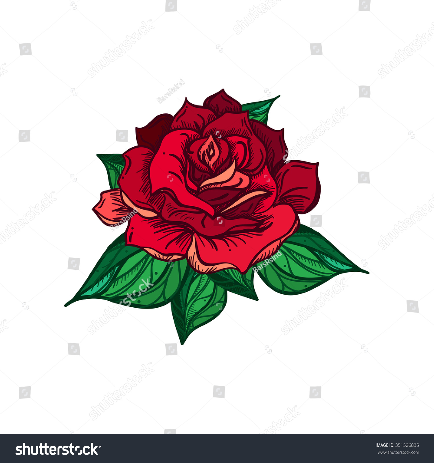hand drawn wedding rose flower template stock vector royalty free
