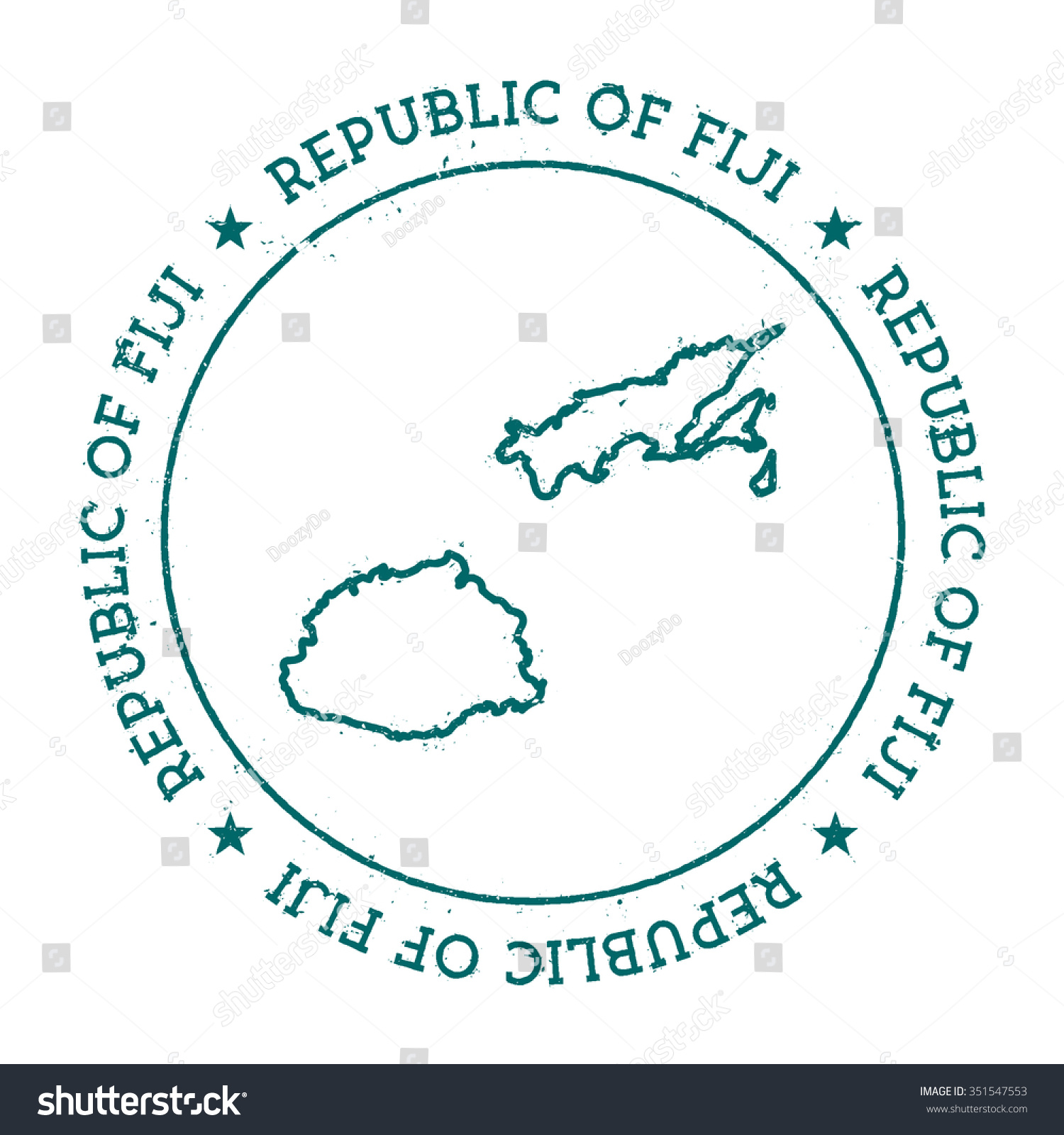 Retro Vintage Insignia Fiji Map Distressed Stock Vector - Republic of fiji map