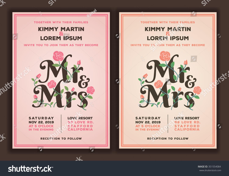 Mr Mrs Title Flower Wedding Invitations Stock Vector 351554084 ...
