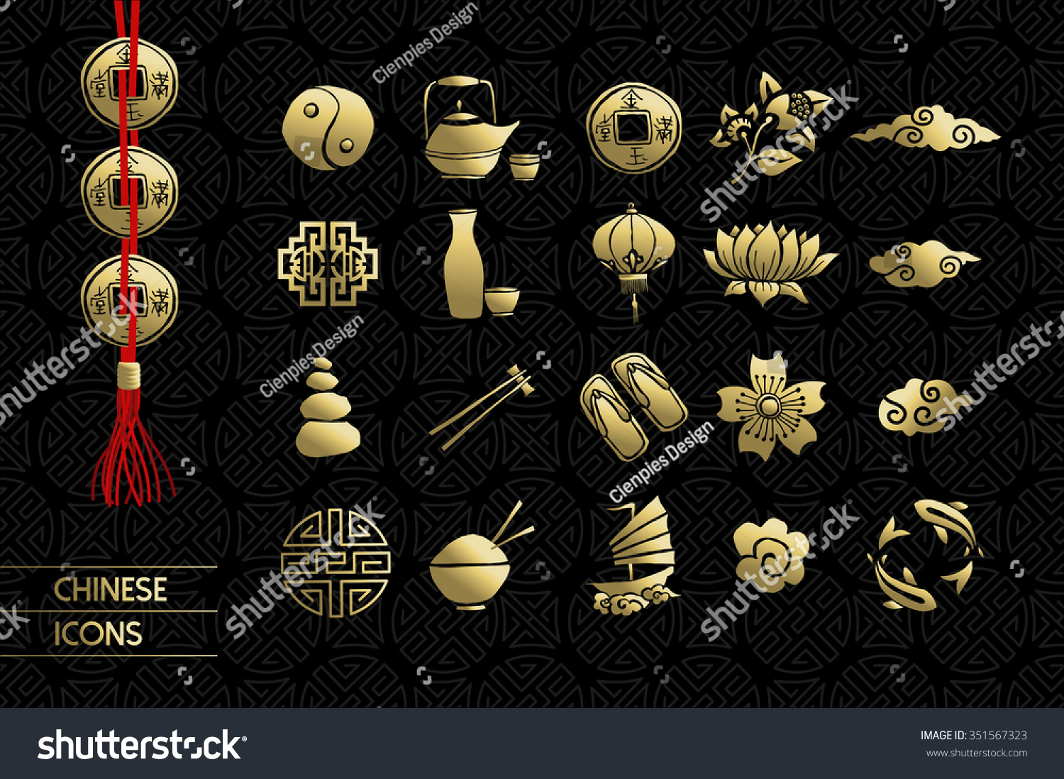 Gold chinese icons set includes lotus stock vector 351567323 gold chinese icons set includes lotus flower traditional culture elements and decoration eps10 dhlflorist Choice Image