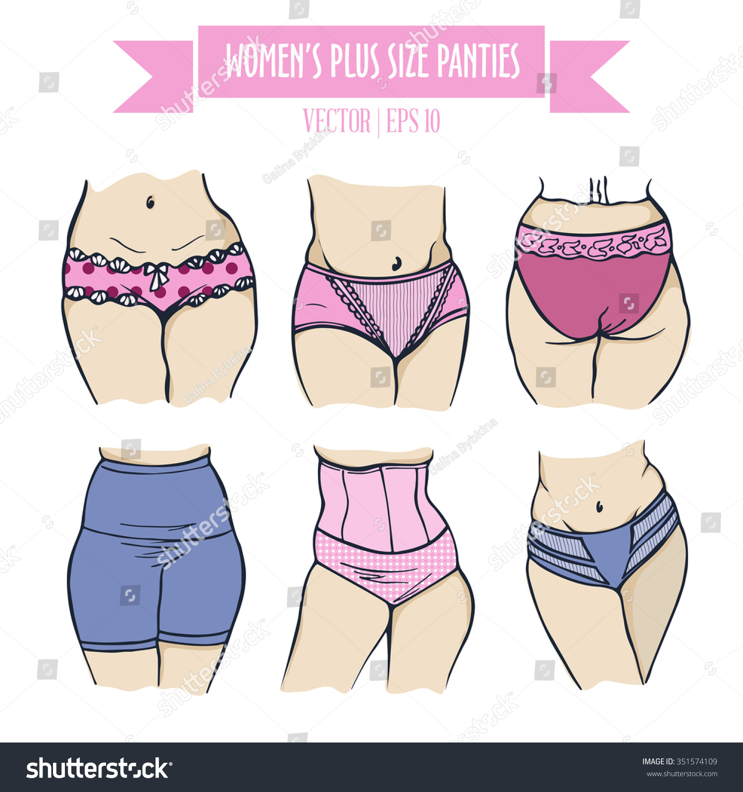 Different Types Panties Women Plus Size Stock Vector 351574109 ...