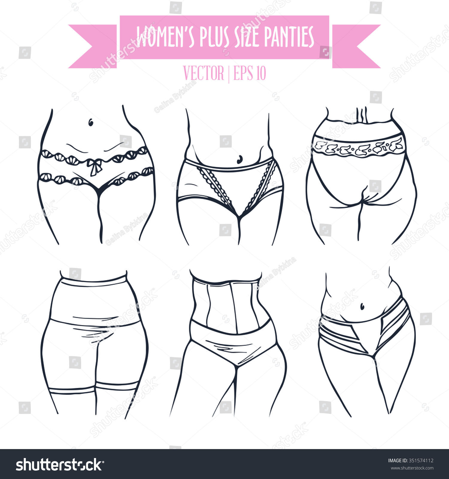 Different Types Panties Women Plus Size Stock Vector 351574112 ...