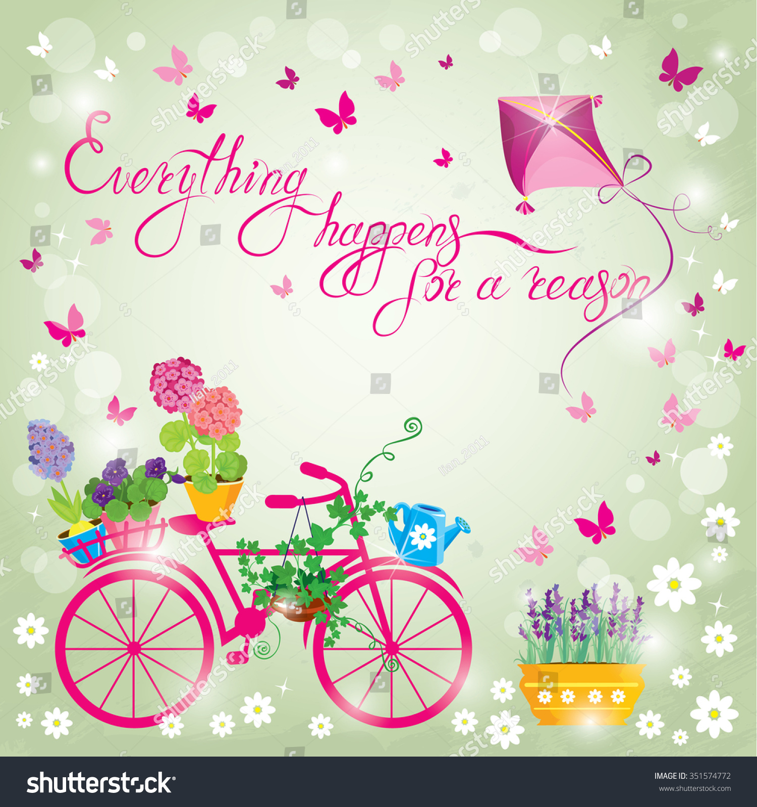 Image Flowers Pots Bicycle On Sky Illustration 351574772 – Birthday Invitation Background