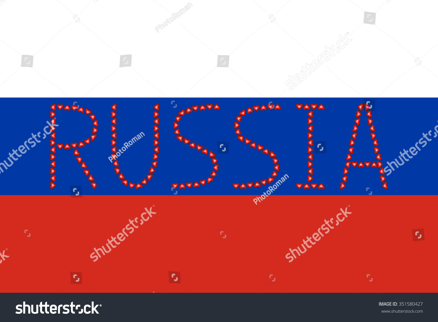 Russian Flag Correct Proportions Colors Word Stock Vector
