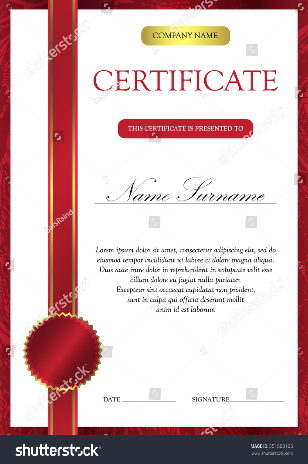 Vertical Red Certificate Diploma Template Vintage Stock