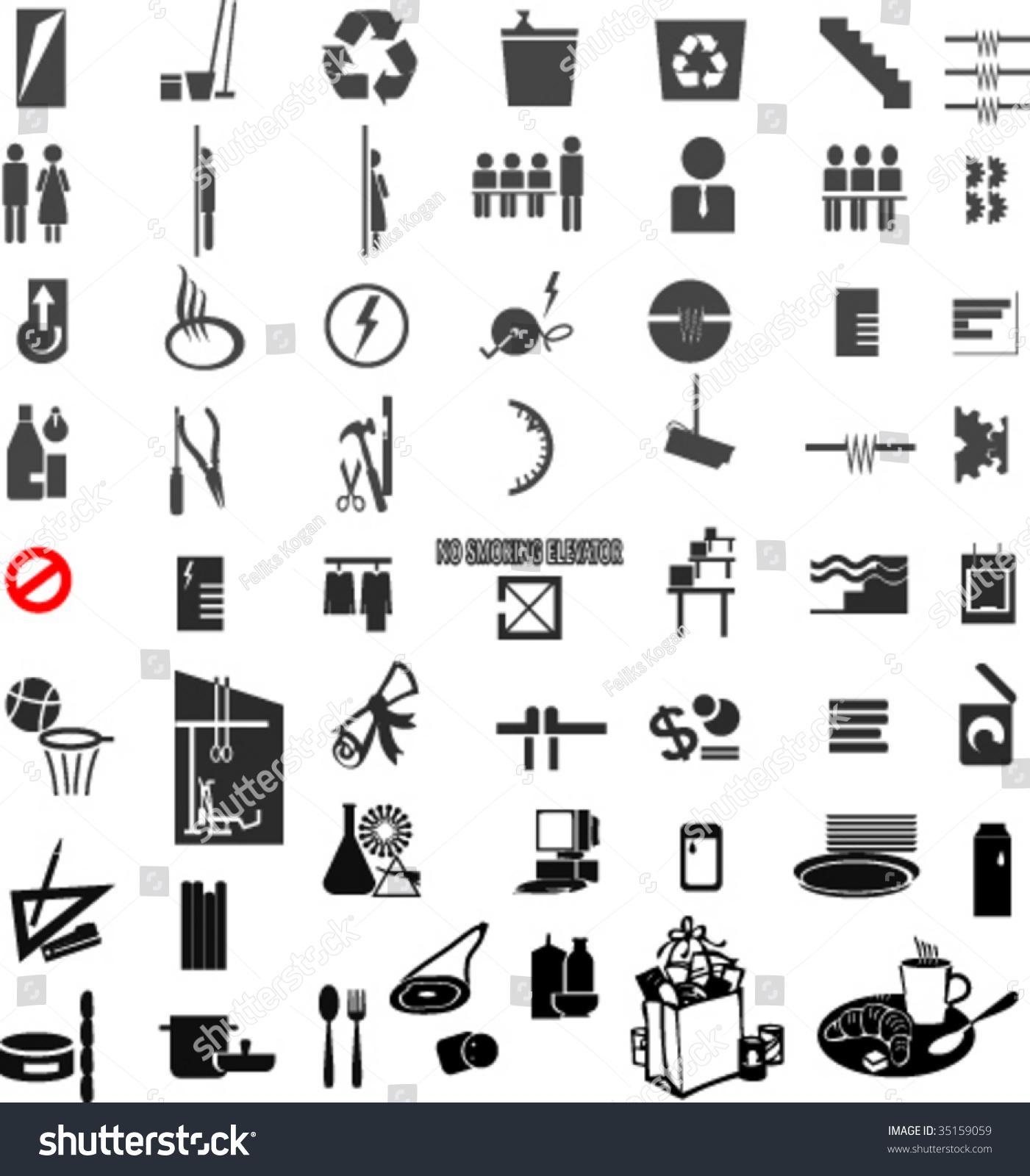 Toilet Paper Hanger Set Symbols School Directory Stock Vector 35159059
