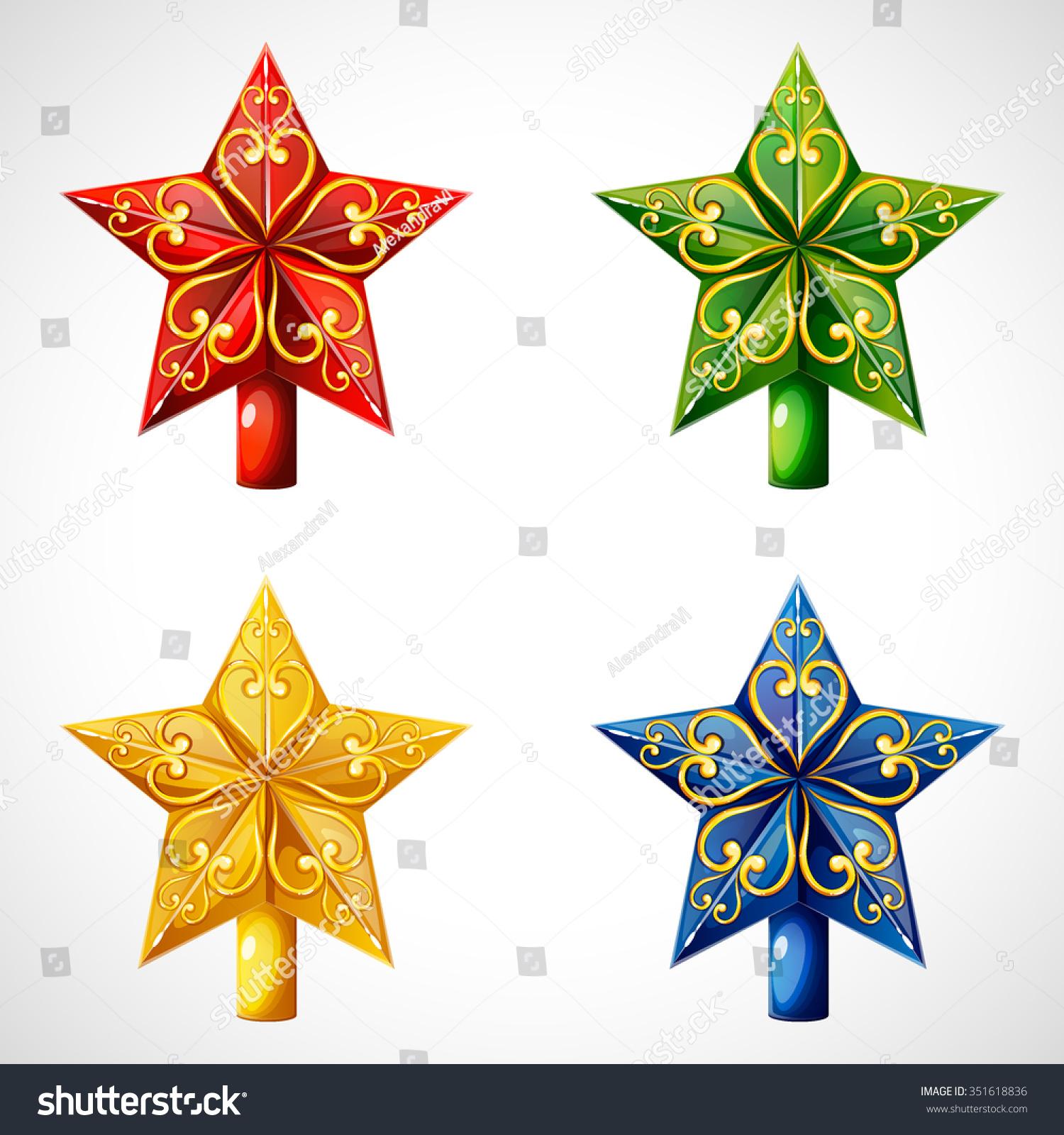 Christmas star tree topper stock vector