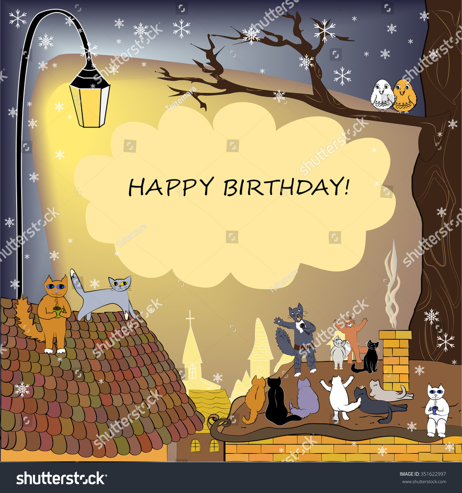 Happy Birthday Card Winter Frame Cats Stock Vector Royalty Free