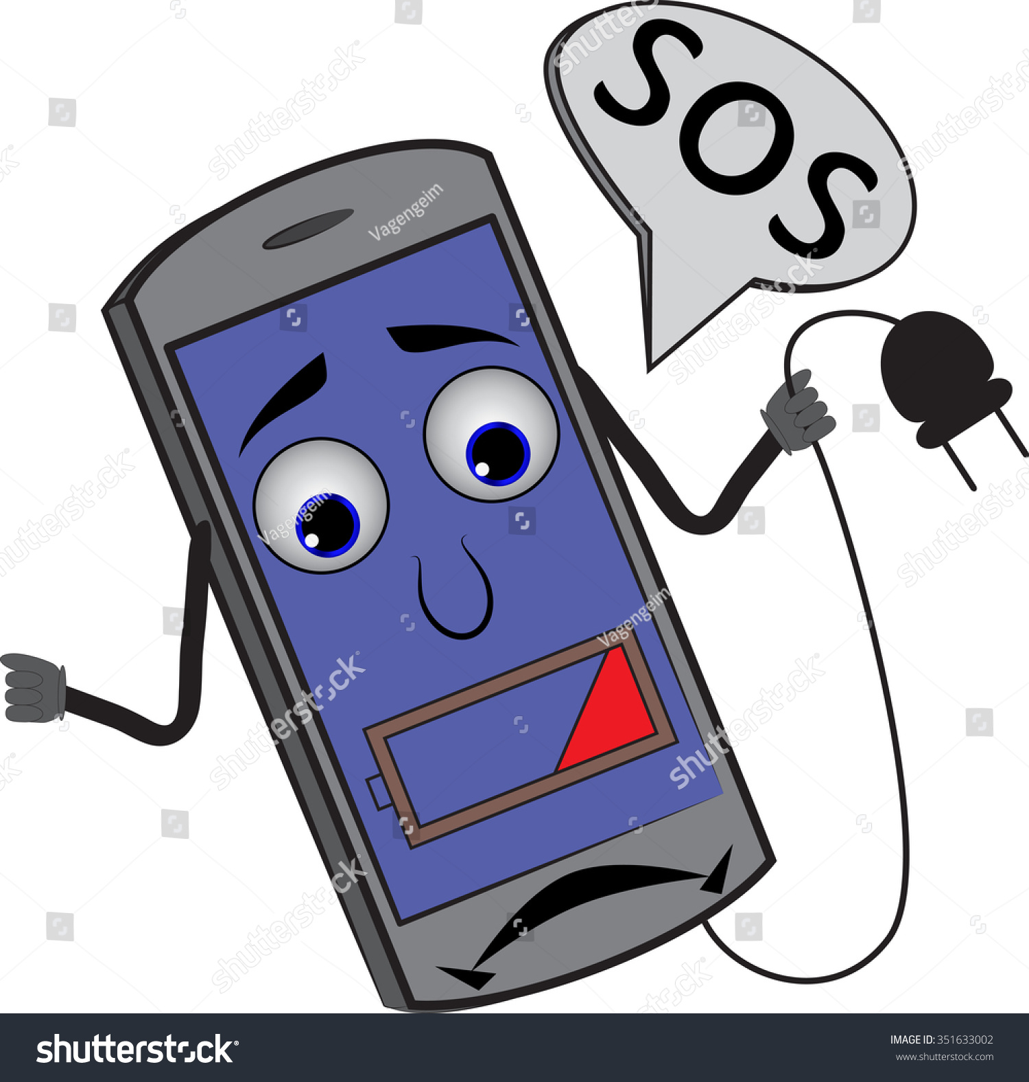 Cartoon Cell Phone Charge Indicator 25 Stock Vector 351633002 ...