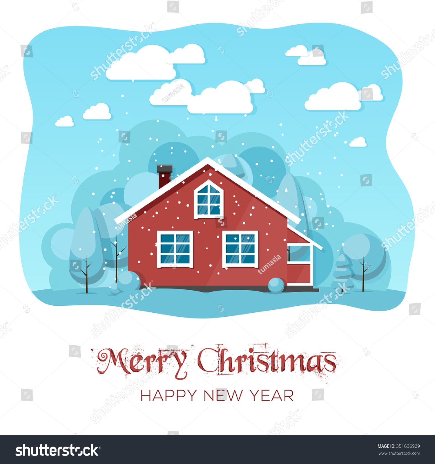 House Winter Forest Christmas Card Background Stock Vector Royalty