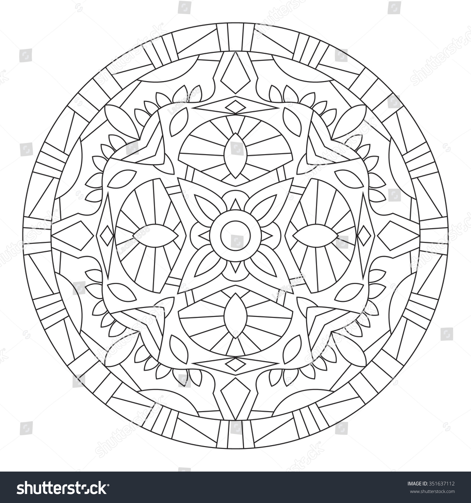 coloring page adults turkish islamic oriental stock vector