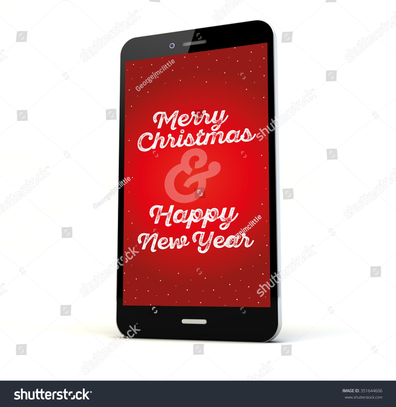 Render Phone Christmas Greeting On Screen Stock Illustration