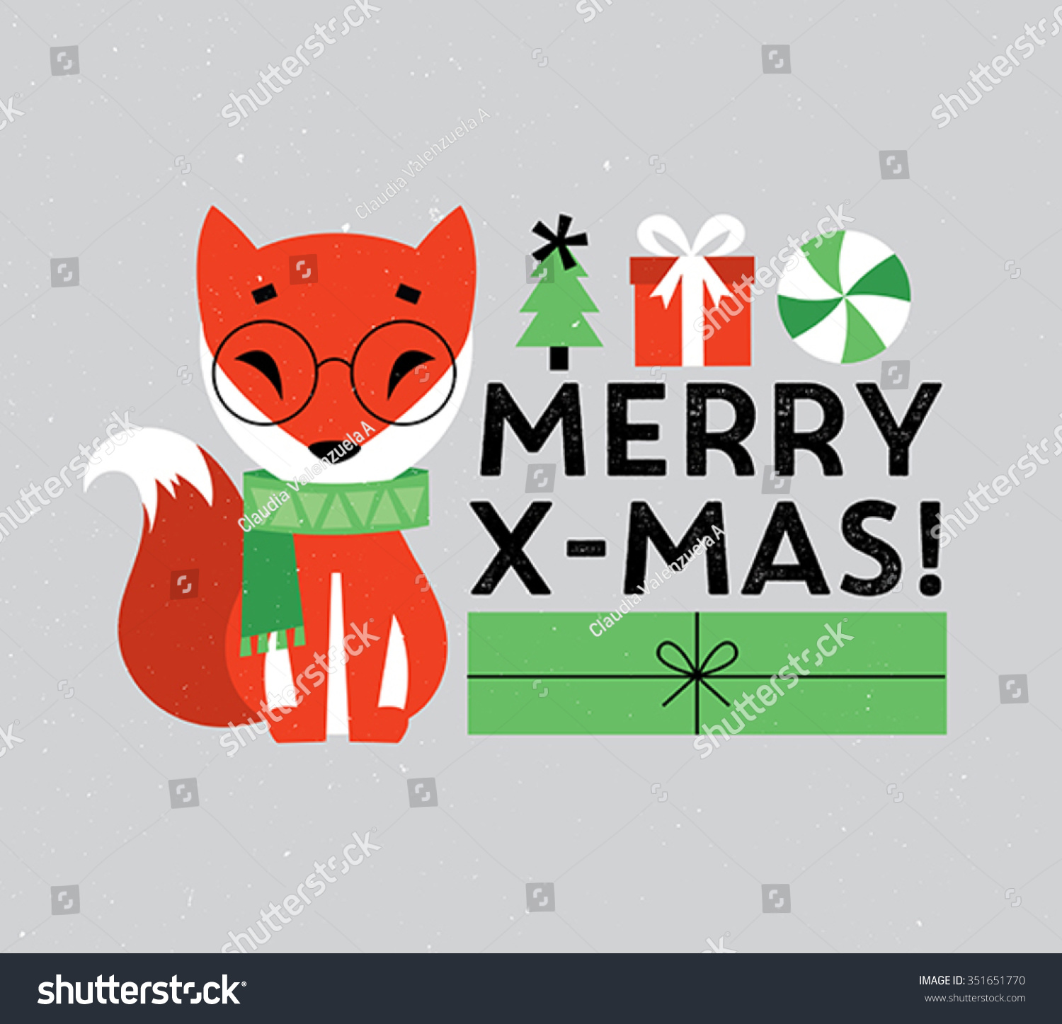 Cute Merry Xmas Fox Stock Vector (Royalty Free) 351651770 - Shutterstock