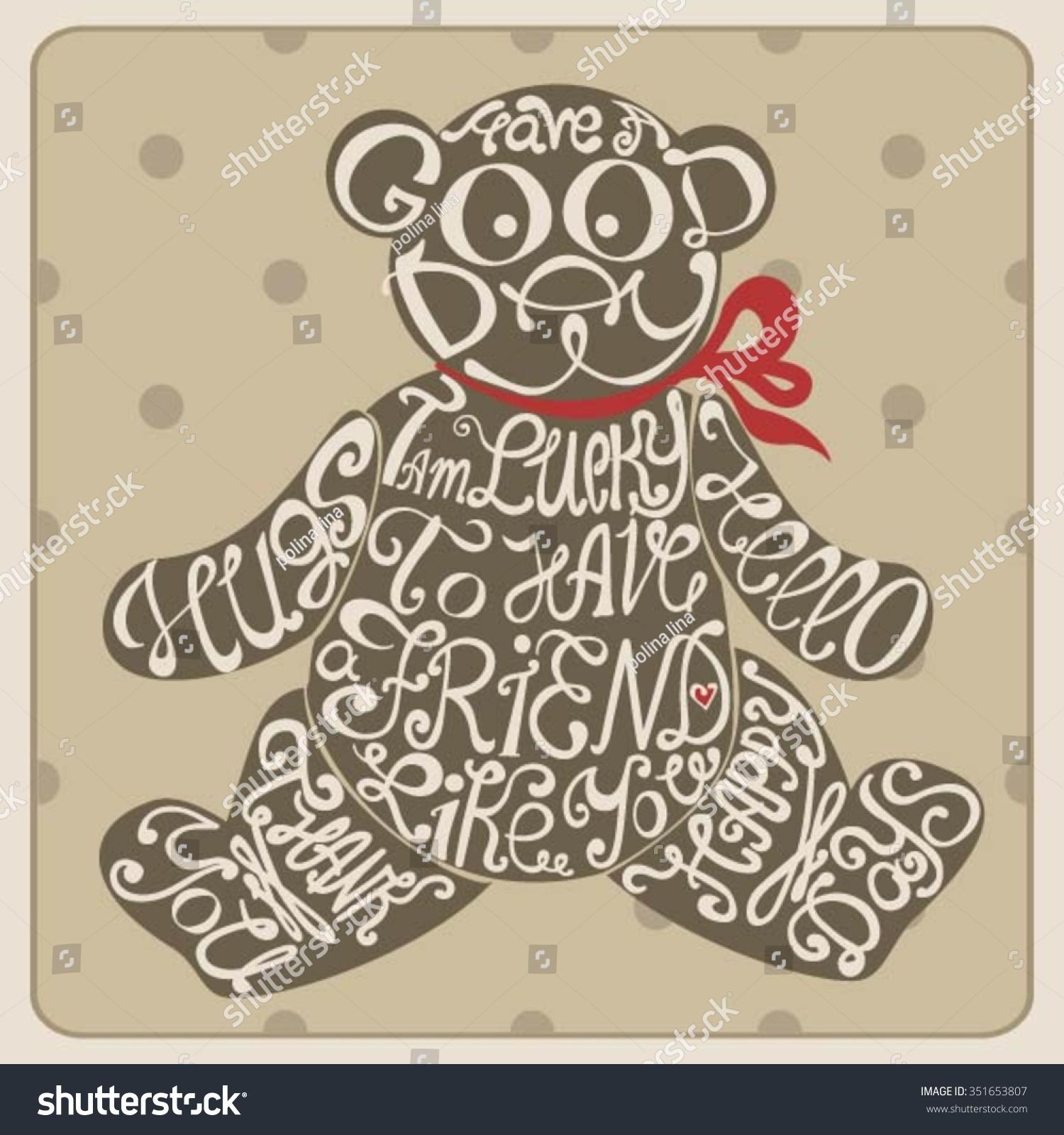 Icon Teddy Bear Made Words Inscription Stock Vector Royalty Free