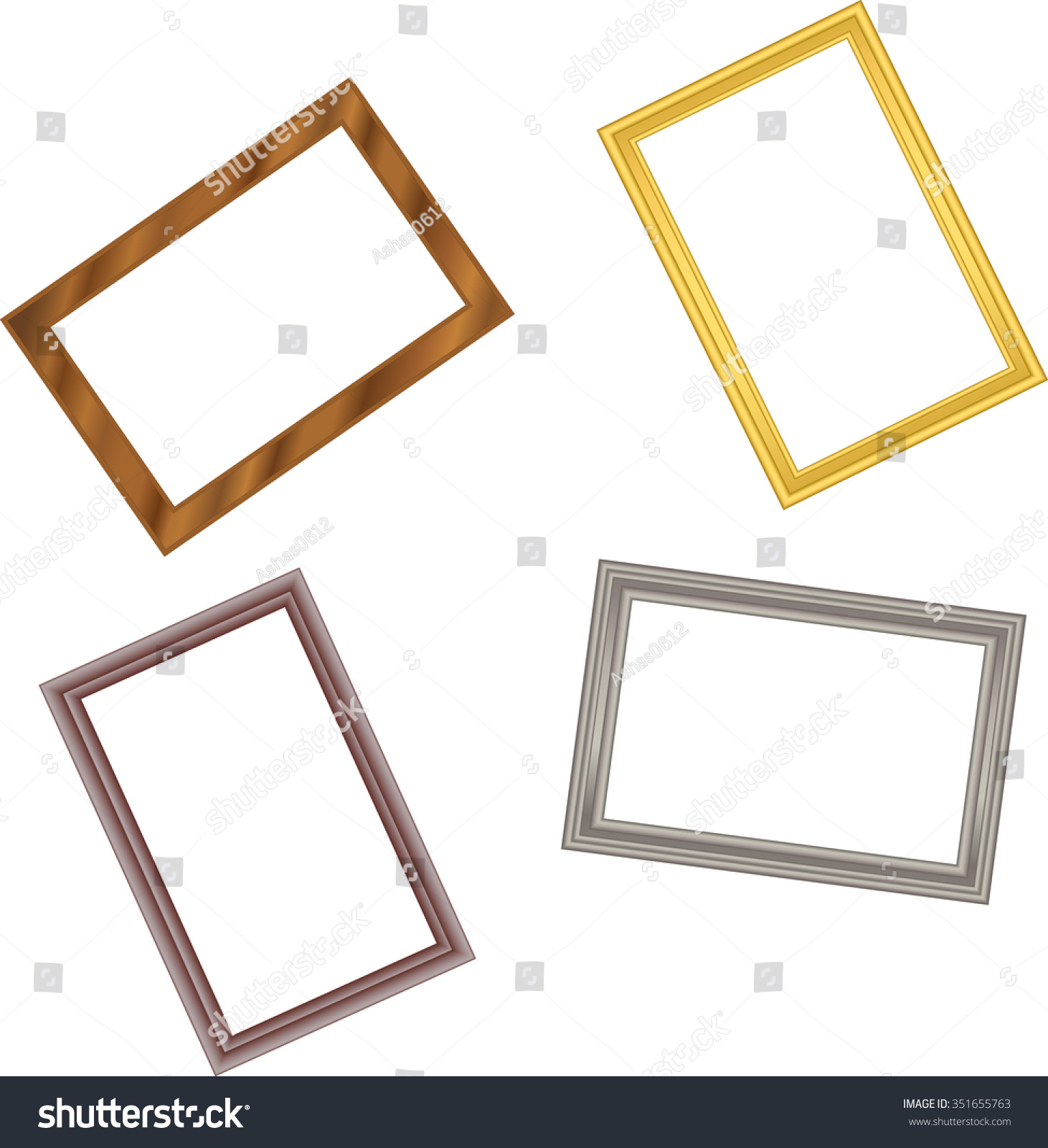 Frame Pattern Metal Gold Metal Silver Stock Vector 351655763 ...