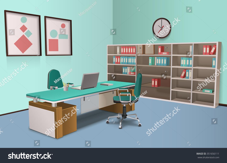 Realistic Room Office Big Boss Computer Stock Vector